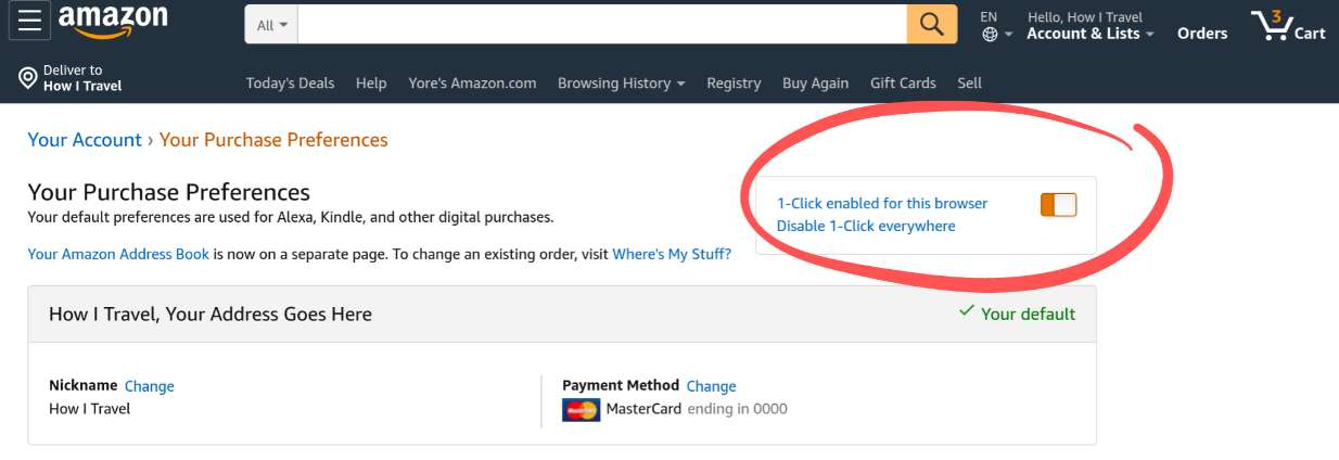 Amazon 1-click address