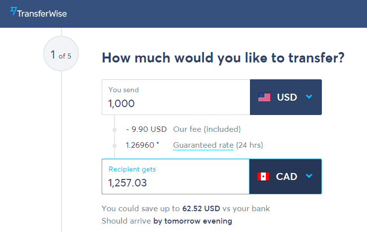 TransferWise Currency Exchange Rate USD To CAD - TransferWise Review